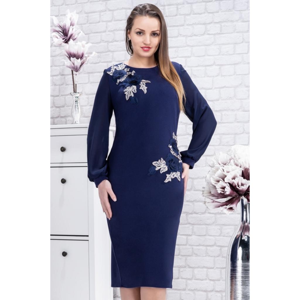 Rochie eleganta de ocazie masuri XXL bleumarin Naomi
